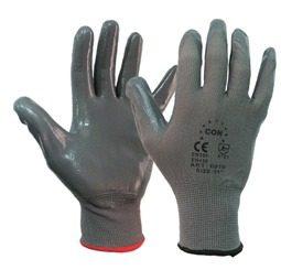 Γάντια εργασίας μηχανικών νιτριλίου γκρι σε διάφορα μεγέθη