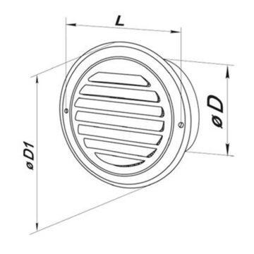 Γρίλια εξαερισμού ανοξέιδωτη Φ100 και Φ125 Vents