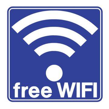 Πινακίδα δωρεάν WiFi αυτοκόλλητη μπλε