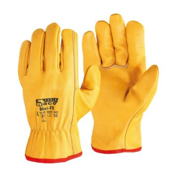Γάντια οδηγών δερμάτινα κίτρινα Maco Maxi-Fit