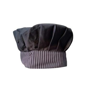 Σκούφος μάγειρα μαύρου χρώματος με ριγέ γείσο