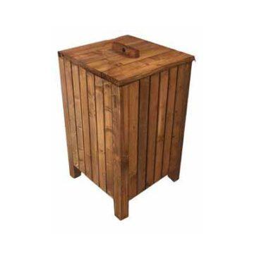 Κάδος απορριμάτων ξύλινος με καπάκι
