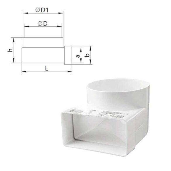 Καμπύλη 90 μοιρών πλαστική για σωλήνα Φ100 VENTS