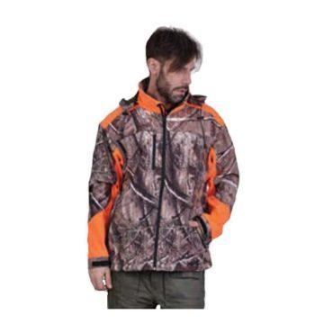 Τζάκετ SOFTSHELL κυνηγιού αδιάβροχο πορτοκαλί φυλλωσιά