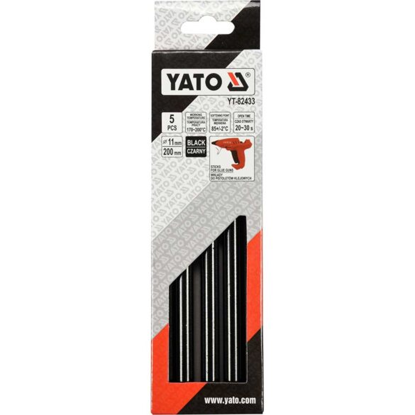 Θερμόκολλα σιλικόνης μαύρη 11.2mm YATO 5 τεμαχίων