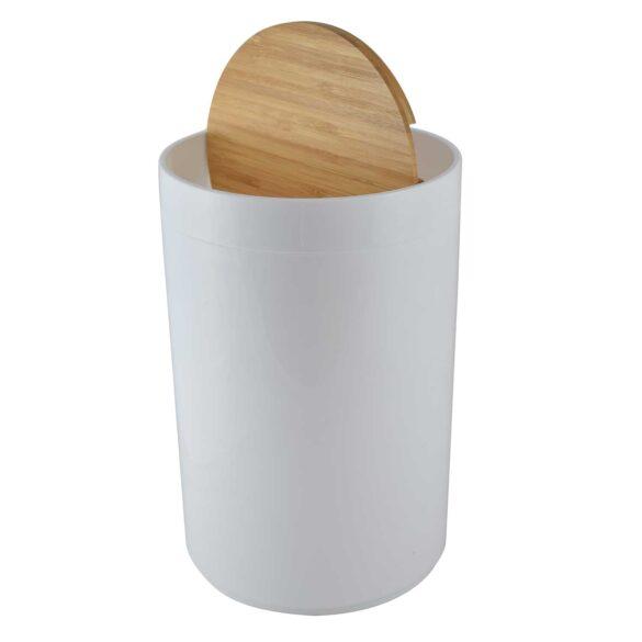 Κάδος μπάνιου πλαστικός λευκός με ξύλινο καπάκι 5 λίτρων