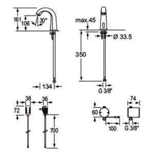 Ηλεκτρονική μπαταρία νιπτήρα FLAMINGO FL20 CONTI